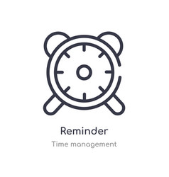 Reminder outline icon isolated line from time vector