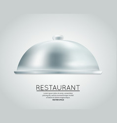 Restaurant cloche food tray vector image