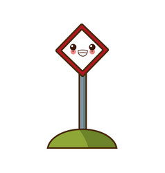 Roadsign blank isolated kawaii cartoon vector