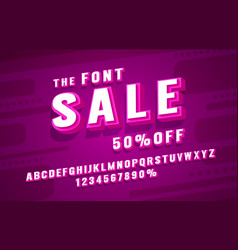 sale font set collection letters and numbers vector image