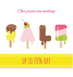Sale ice-cream melted letters vector
