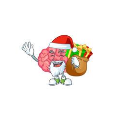 santa brain cartoon character with sacks gifts vector image