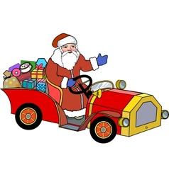 Santa Claus and retro car vector image