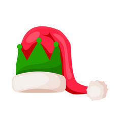 santa claus hat with green crown isolated on white vector image
