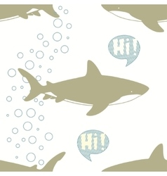 Seamless pattern with cute sharks vector