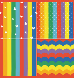 set colorful rainbow striped seamless pattern vector image