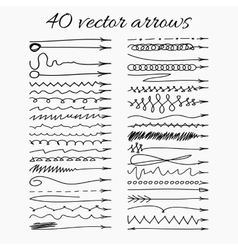 Set of 40 hand-drawn arrows Easy paste to any vector image