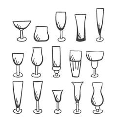 Set of doodle stemware-2 vector