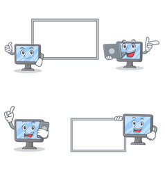 Set of monitor character with pose board laptop vector