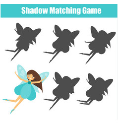 Shadow matching game cute fairy kids activity vector