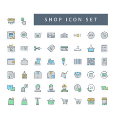 shop supermarket icon set with filled outline vector image