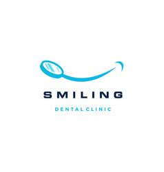 smile dental mirror logo icon vector image