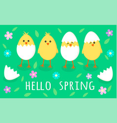 spring greeting card with four cute little yellow vector image