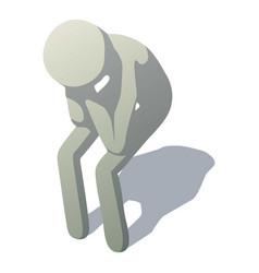 stick man crying icon isometric style vector image
