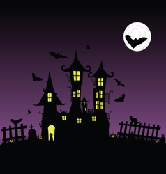sweet and beauty castle with bats part two vector image