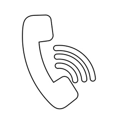 Telephone with waves symbol vector