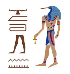 Thoth ancient egyptian ibis god in carton vector