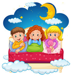 Three kids in pajamas at nighttime vector