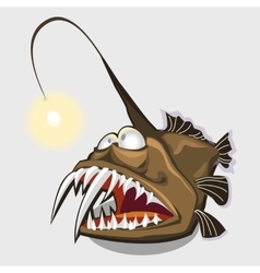 Toothy fish lamp character or icon for design vector image