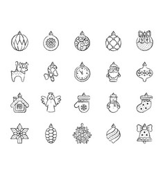 Tree decorations charcoal line icons set vector