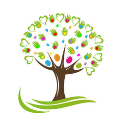 tree hearts and hands logo vector image