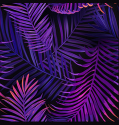 tropical neon palm leaves seamless pattern floral vector image