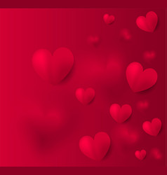 valentines day red background with red hearts vector image