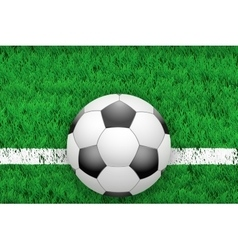 White line and football ball on Sport grass field vector