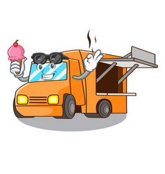 with ice cream food truck with isolated on mascot vector image