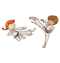 Young martial arts experts vector image