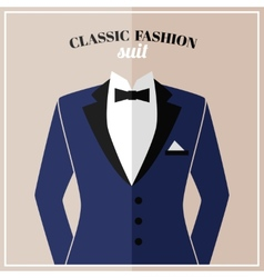 Classic tuxedo suit with bow vector image vector image