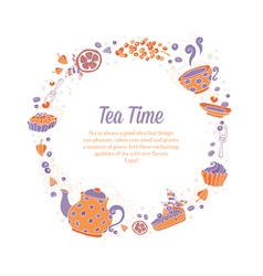 Elegant set of hand drawn tea and cakes vector image vector image