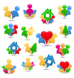 Icons with humans vector image vector image