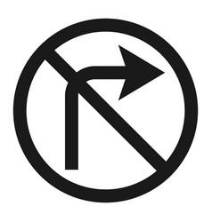 No right prohibition turn sign line icon vector