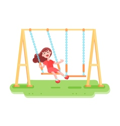 Swinging kid seesaw composition vector