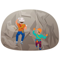 Back view of two people climbing up to the cliff vector