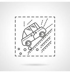 Car accident in the mountains line icon vector