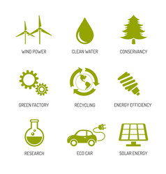 ecology and nature conservation icons flat design vector image vector image