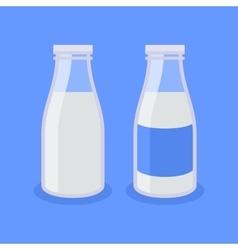 Flat Style Milk Bottle Icon on Blue Background vector image