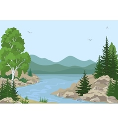 Landscape with Trees and Mountain River vector image vector image