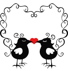 ornamental loving birds vector image