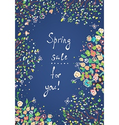 Spring sale banner or card with flowers vector image