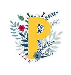 Floral alphabet letter p vector