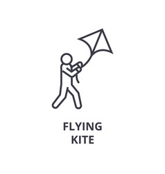 flying kite line icon outline sign linear symbol vector image