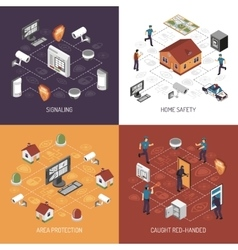Home Security 4 Isometric Icons Square vector image vector image
