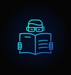 man reading a book blue icon vector image vector image