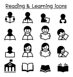 reading learning study icons vector image vector image