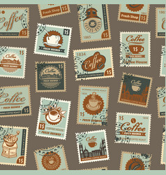 Seamless pattern with postage stamps coffee theme vector