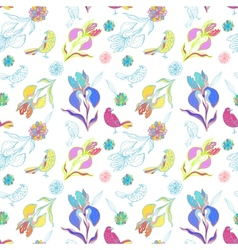 Vintage floral seamless pattern iris and birds vector image vector image