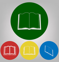 book sign 4 white styles of icon at 4 vector image vector image